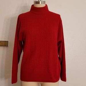 Orange Red Cable Ribbed Mock Neck Sweater Size L